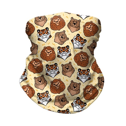 Lions, Tigers, And Bears Pattern Neck Gaiter