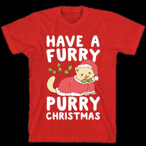 Have a Furry, Purry Christmas  Mens T-Shirt