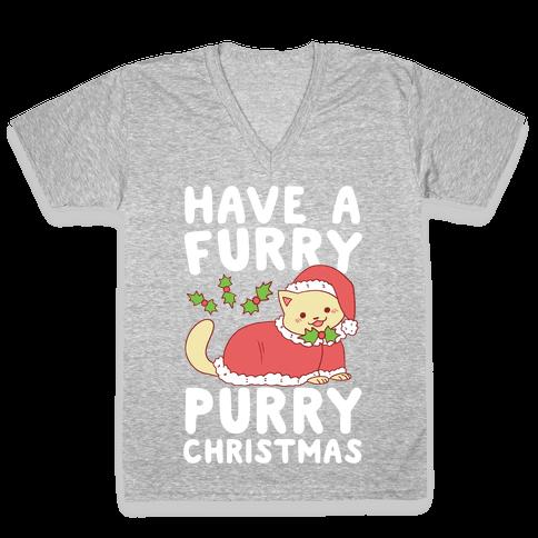 Have a Furry, Purry Christmas  V-Neck Tee Shirt