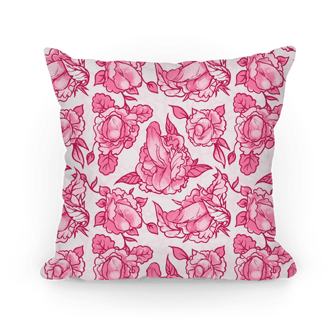 Floral Penis Pattern Pink Pillow