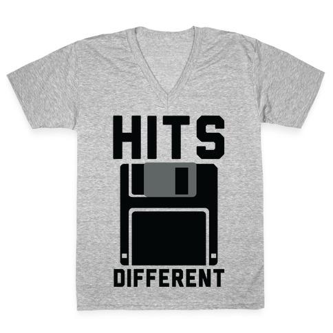 Hits Different Floppy Disk V-Neck Tee Shirt