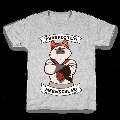 Purrfectly Meowscular  Kids T-Shirt