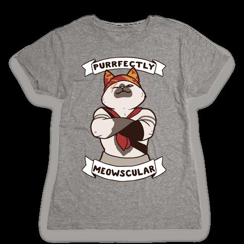 Purrfectly Meowscular  Womens T-Shirt