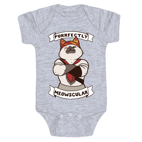 Purrfectly Meowscular  Baby Onesy