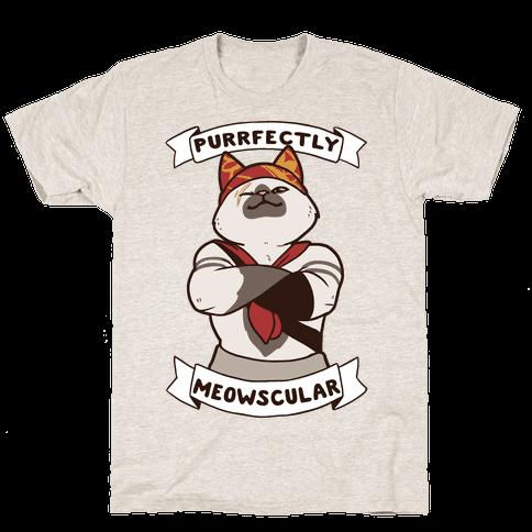 Purrfectly Meowscular  Mens T-Shirt