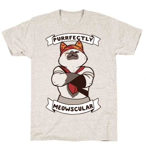 Purrfectly Meowscular  Mens T-Shirt
