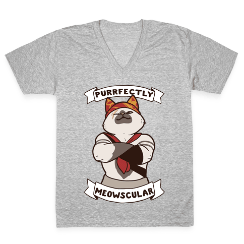 Purrfectly Meowscular  V-Neck Tee Shirt