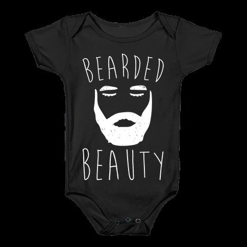 Bearded Beauty White Print Baby Onesy