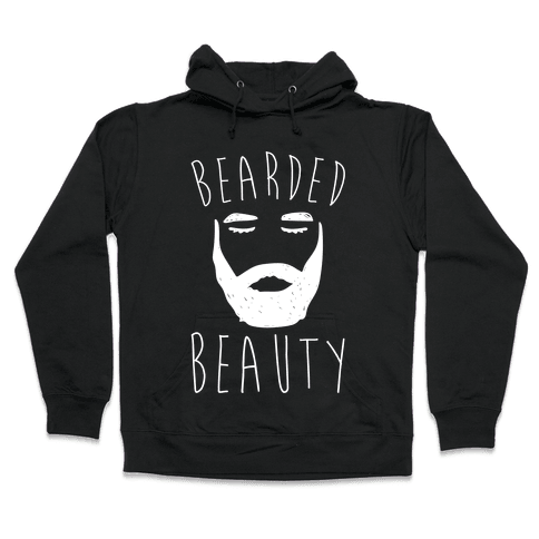 Bearded Beauty White Print Hooded Sweatshirt