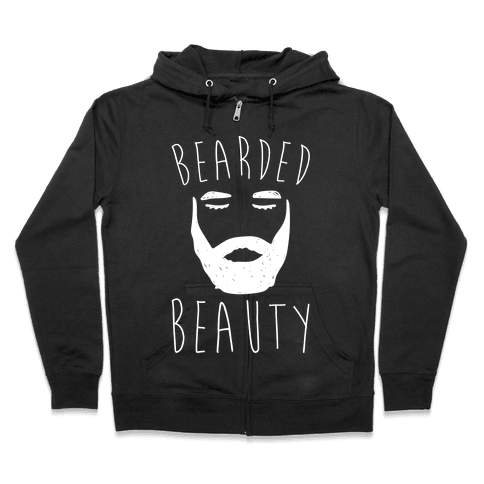 Bearded Beauty White Print Zip Hoodie
