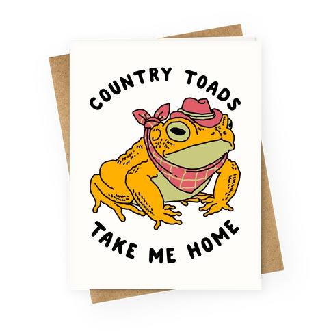 Country Toads Take Me Home Greeting Card