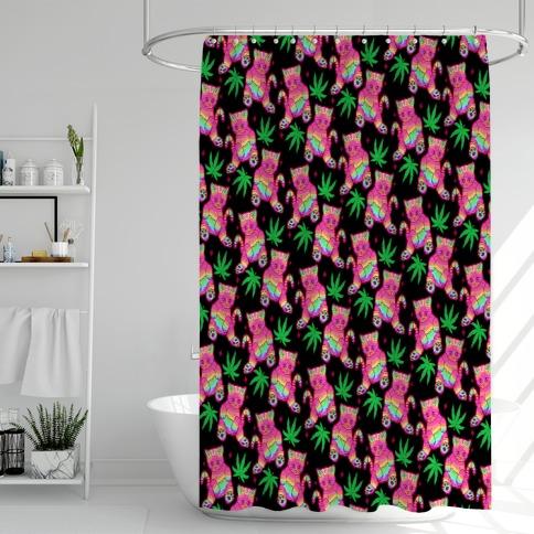 Rainbow Weed Kitty Shower Curtain
