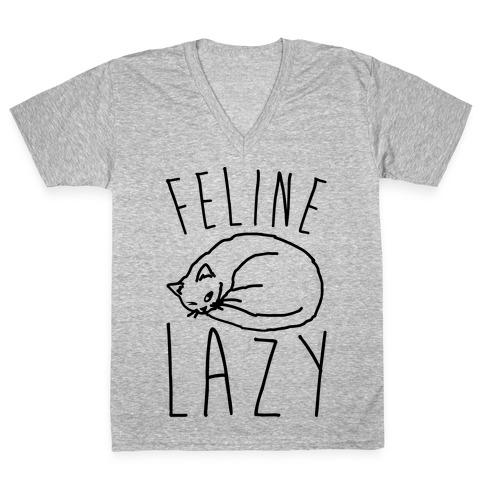 Feline Lazy V-Neck Tee Shirt