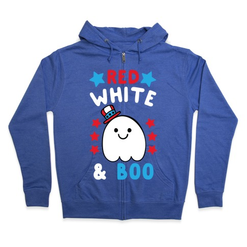 Red, White and Boo Zip Hoodie