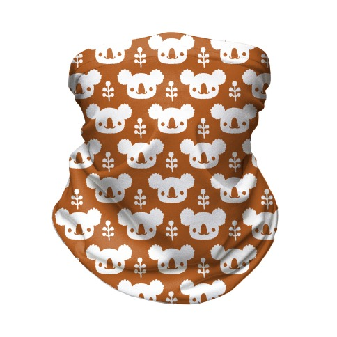 Koala and Eucalyptus Boho Pattern Rust Orange Neck Gaiter