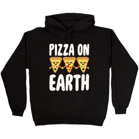 Pizza On Earth White Print Hooded Sweatshirt