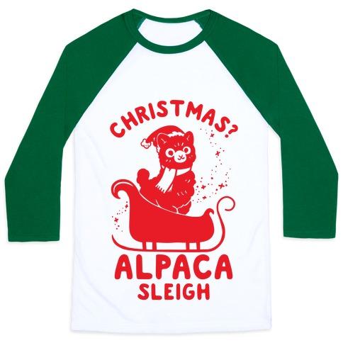 Christmas Alpaca Sleigh Baseball Tee