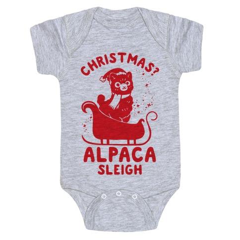 Christmas Alpaca Sleigh Baby Onesy