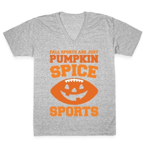 Pumpkin Spice Sports Parody White Print V-Neck Tee Shirt