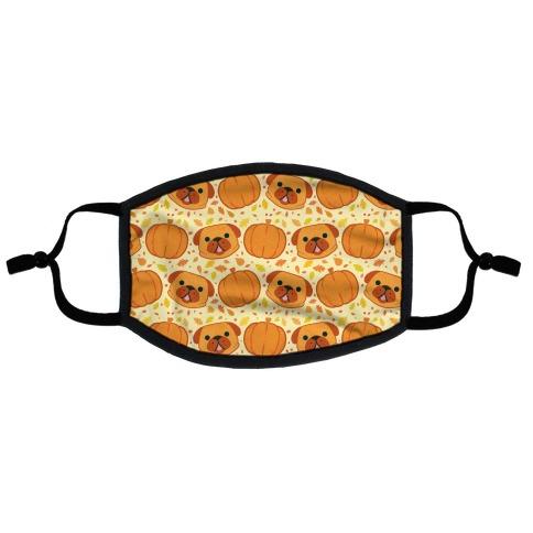 Pug Pumpkin Pattern Flat Face Mask