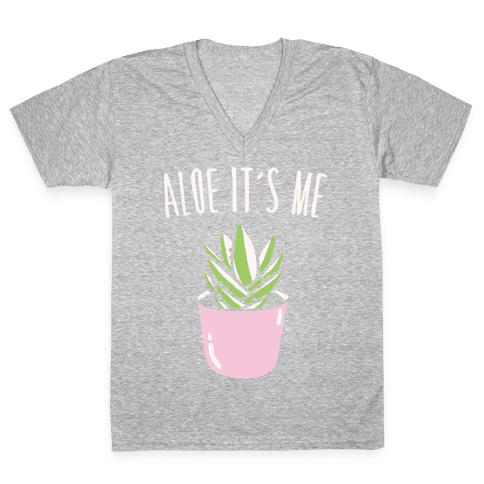 Aloe It's Me White Print V-Neck Tee Shirt