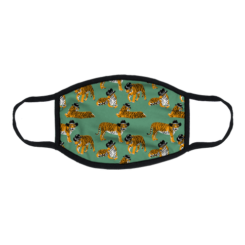 Tigers in Cowboy Hat Pattern Flat Face Mask