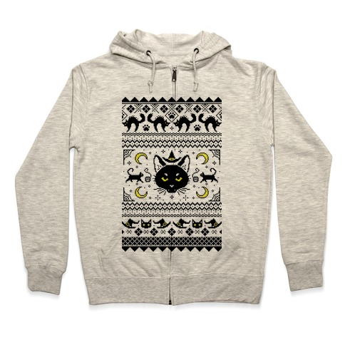 Witchy Black Cats Ugly Sweater Zip Hoodie