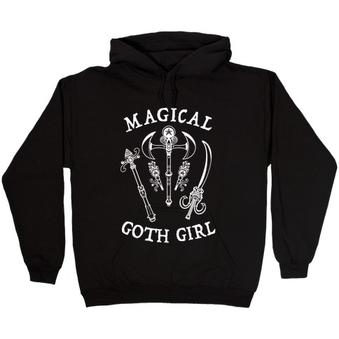 Magical Goth Girl White Hooded Sweatshirt
