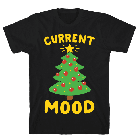 Current Mood Christmas White Print Mens T-Shirt