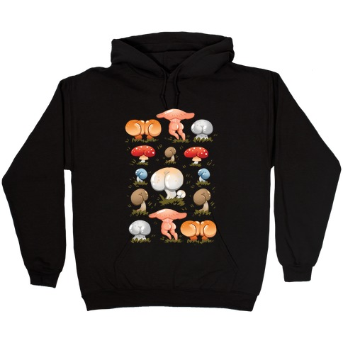 Butt Mushroom Pattern Hooded Sweatshirt