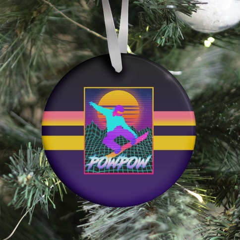 POWPOW Synthwave Snowboarder Ornament
