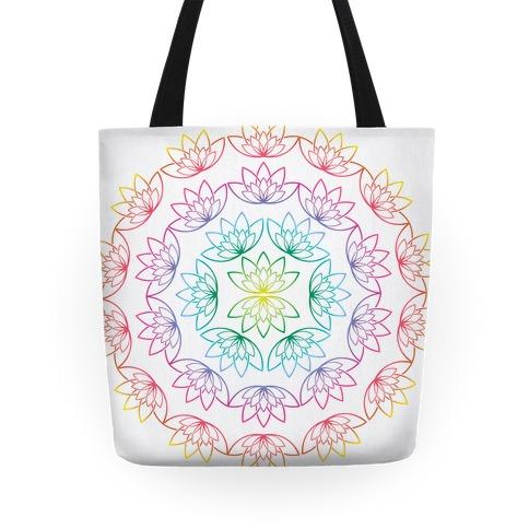 Round Lotus Pattern Tote