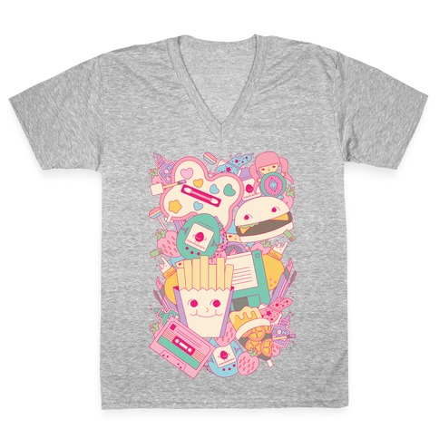 90s Toys Candy and Makeup V-Neck Tee Shirt