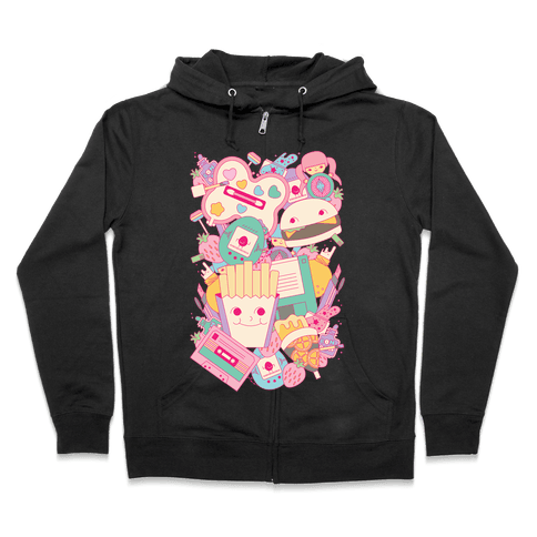 90s Toys Candy and Makeup Zip Hoodie