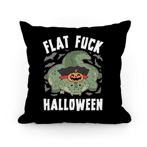 Flat F*** Halloween Pillow