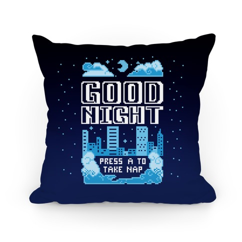 Good Night Game Over Screen Pillow