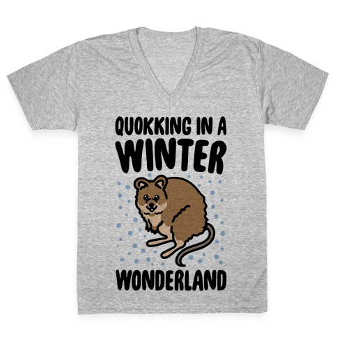 Quokking In A Winter Wonderland V-Neck Tee Shirt