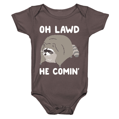 Oh Lawd He Comin' Raccoon Baby One-Piece