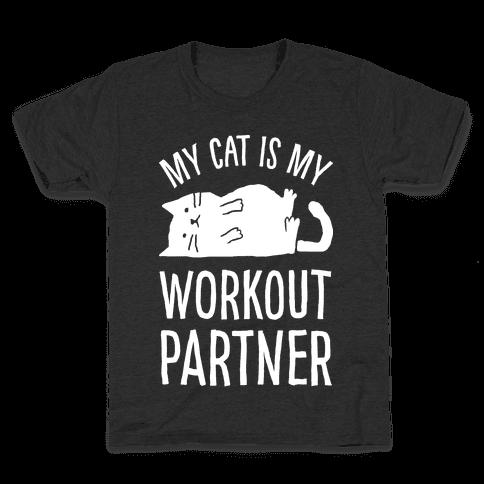 My Cat Is My Workout Partner Kids T-Shirt