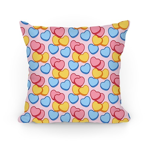 Candy Hearts Pattern Pink Pillow