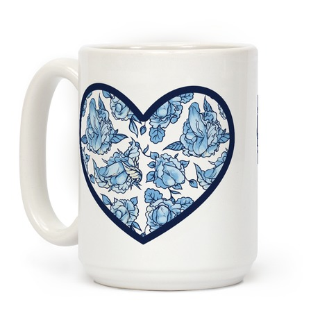 Floral Penis Pattern Heart Coffee Mug