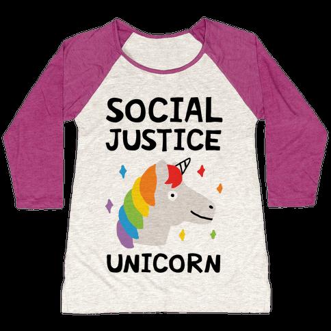 Social Justice Unicorn Baseball Tee