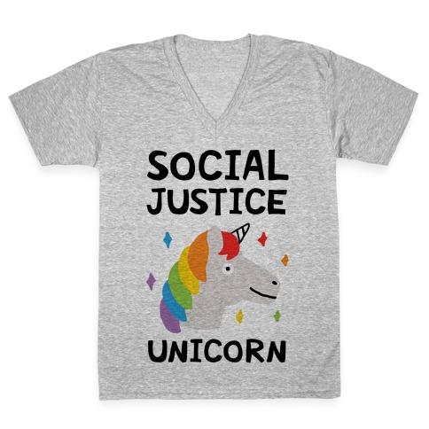 Social Justice Unicorn V-Neck Tee Shirt