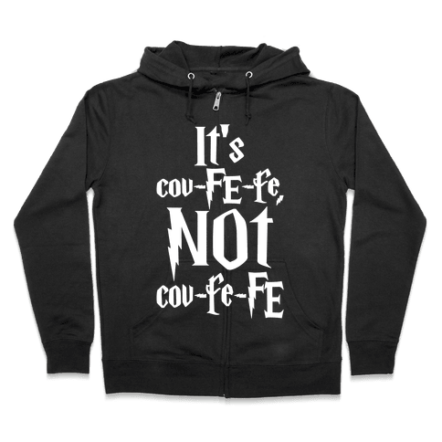 It's Covfefe Not Covfefe Parody White Print Zip Hoodie