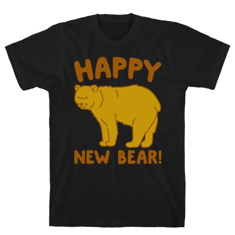 Happy New Bear White Print T-Shirt