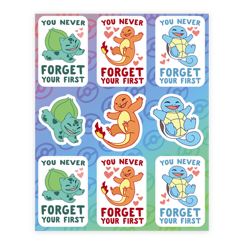 Kanto Starters - Pokemon Sticker/Decal Sheet