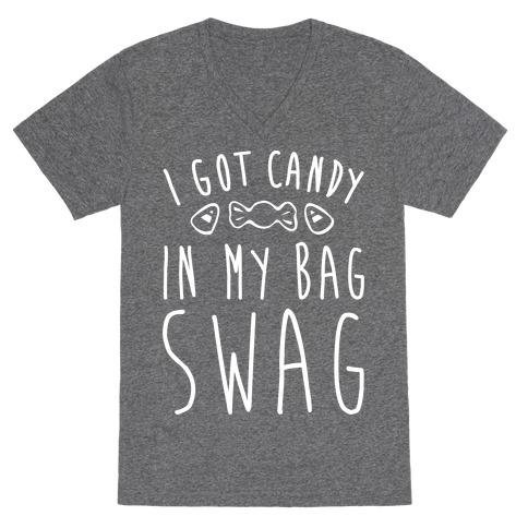 I Got Candy In My Bag Swag Parody White Print V-Neck Tee Shirt