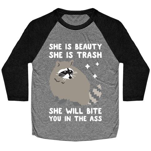 She Is Beauty She Is Trash Raccoon Baseball Tee