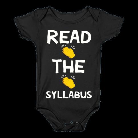 Read The Syllabus Clap Emoji Baby Onesy