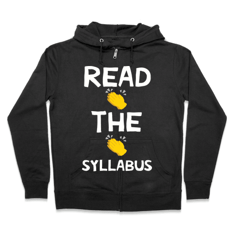 Read The Syllabus Clap Emoji Zip Hoodie
